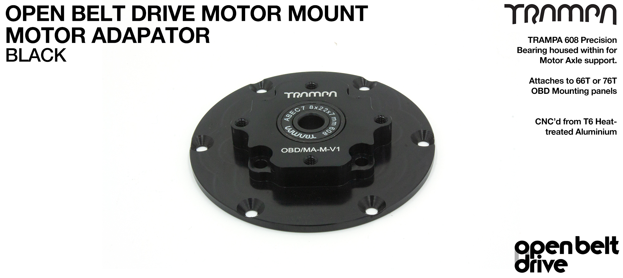 OBD Motor Adaptor with Housed Bearing - BLACK