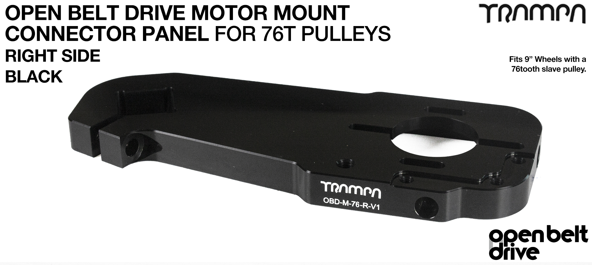 OBD Motor Mount Connector Panel for 76 tooth Pulleys - GOOFY - BLACK