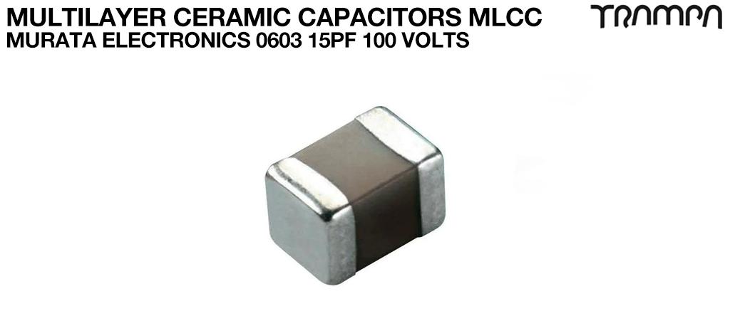 Multilayer Ceramic Capacitors MLCC / Murata Electronics 0603 15pF 100 Volts
