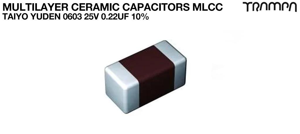 Multilayer Ceramic Capacitors MLCC / TAIYO YUDEN 0603 25V 0.22UF 10%