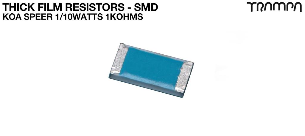 Thick Film Resistors - SMD / KOA Speer 1/10watts 1Kohms