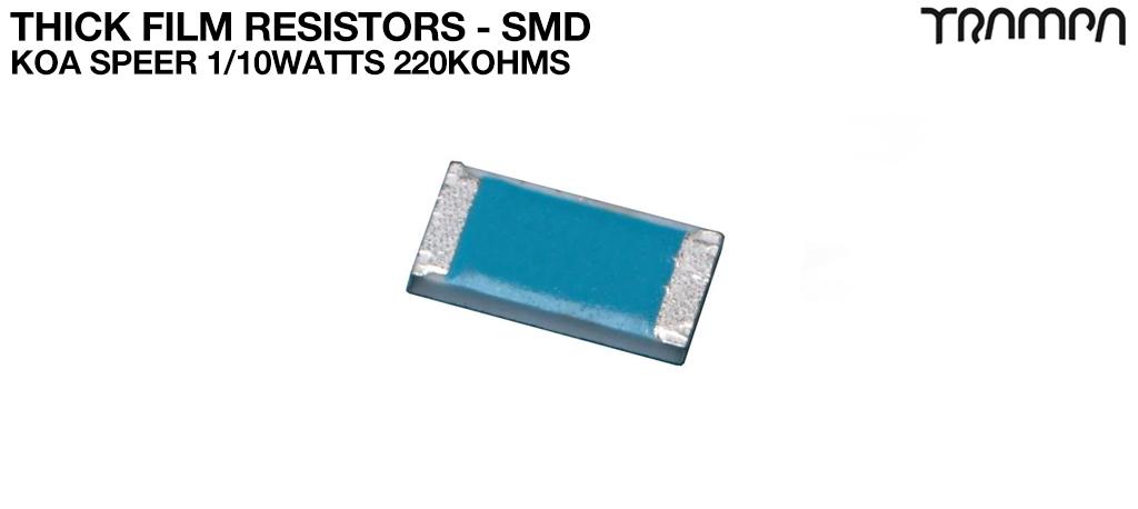 Thick Film Resistors - SMD / KOA Speer 1/10watts 220Kohms