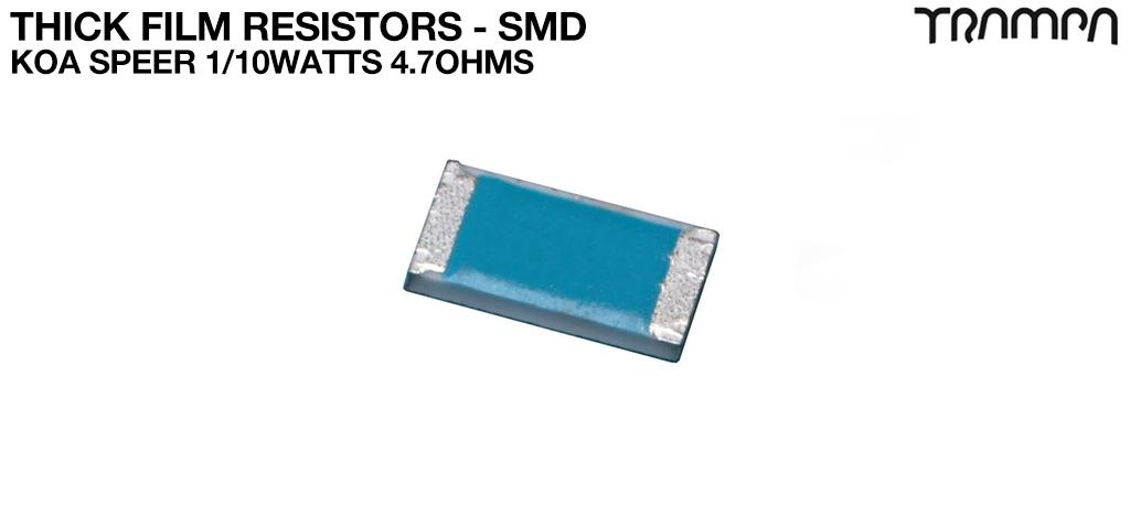 Thick Film Resistors - SMD / KOA Speer 1/10watts 4.7ohms