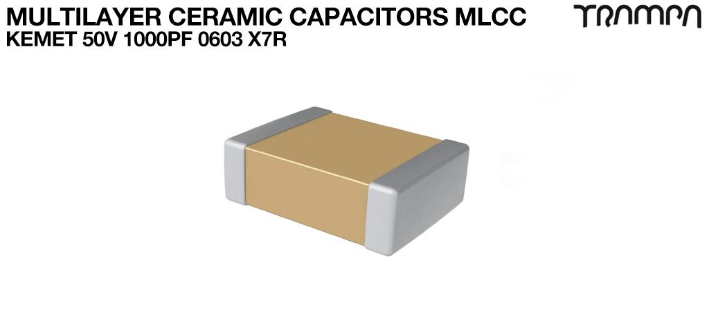 Multilayer Ceramic Capacitors MLCC / KEMET 50V 1000pF 0603 X7R