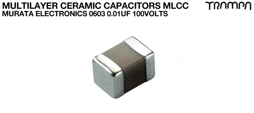 Multilayer Ceramic Capacitors MLCC / Murata Electronics 0603 0.01uF 100volts