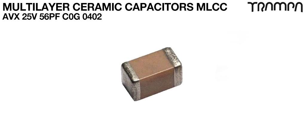Multilayer Ceramic Capacitors MLCC / AVX 25V 56pF C0G 0402