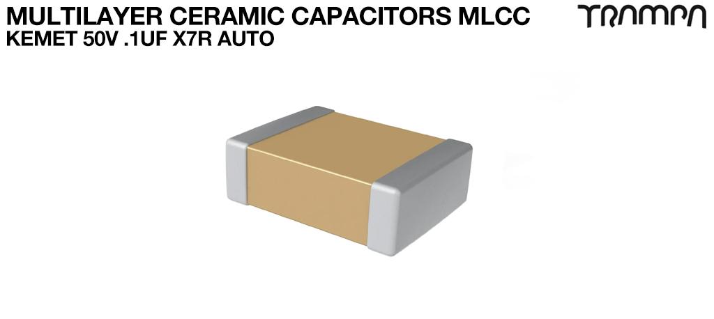 Multilayer Ceramic Capacitors MLCC / KEMET 50V .1uF X7R AUTO