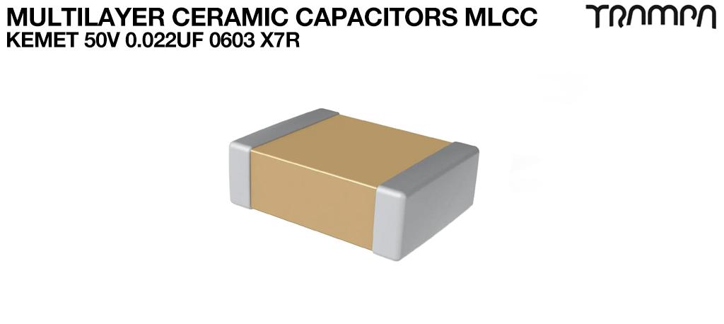 Multilayer Ceramic Capacitors MLCC / KEMET 50V 0.022uF 0603 X7R