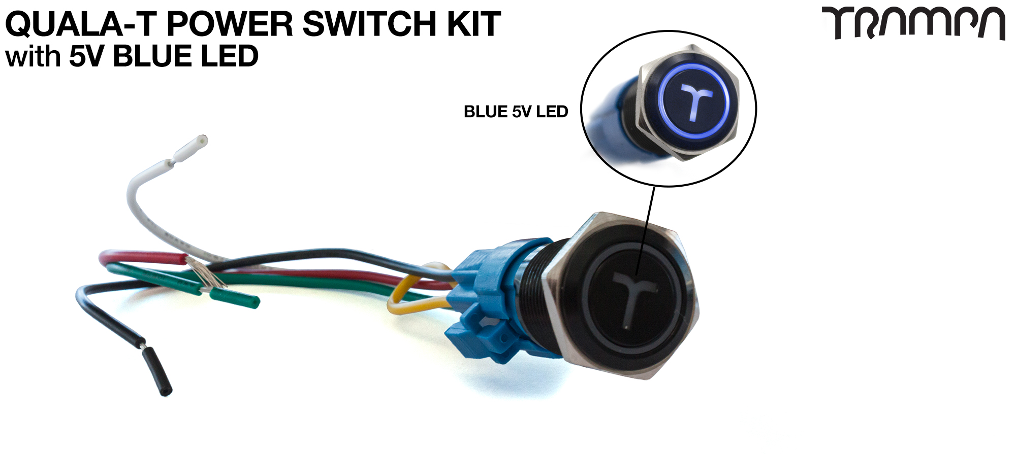 BLUE LED QUALA-T Power Switch Kit with 16mm Fixing Nut & Cable Harness