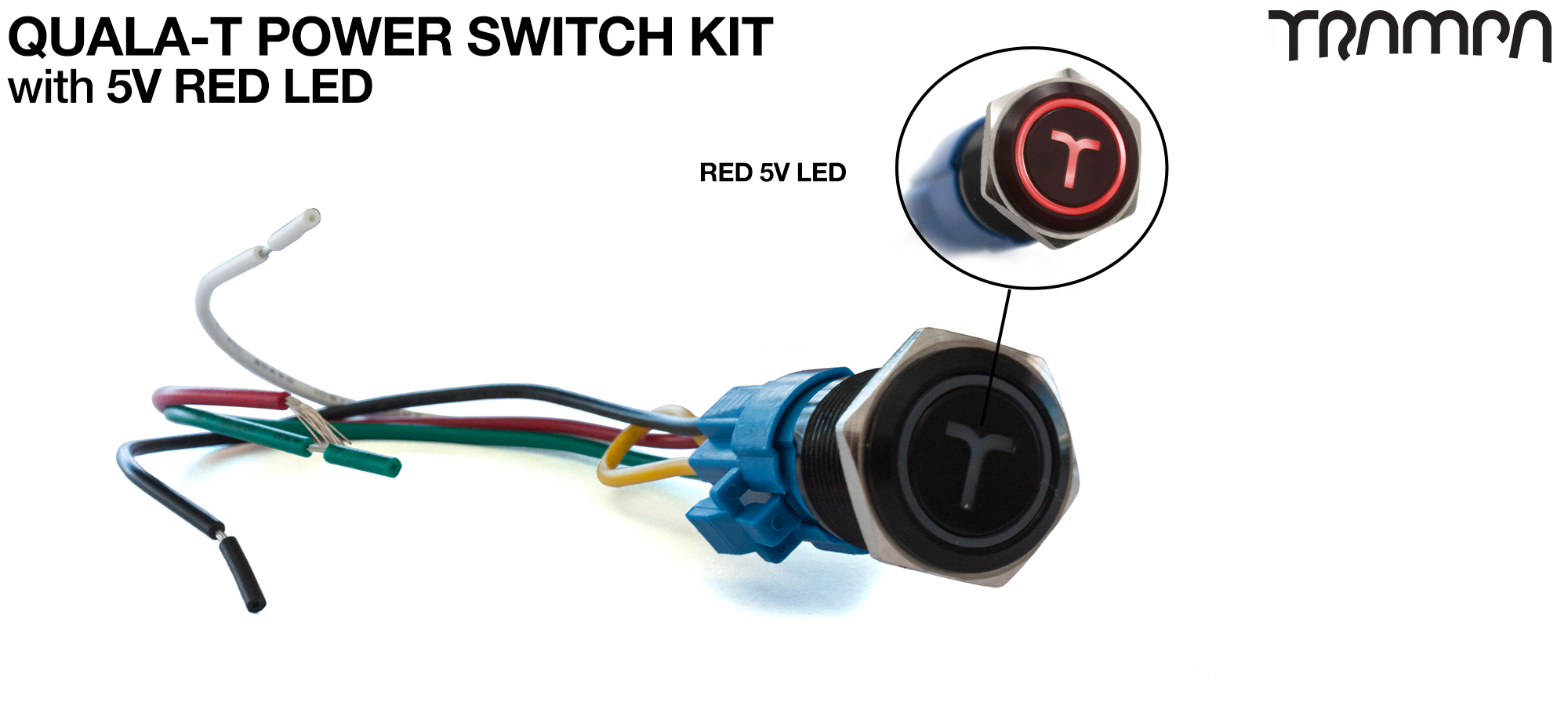 RED LED QUALA-T Power Switch Kit with 16mm Fixing Nut & Cable Harness