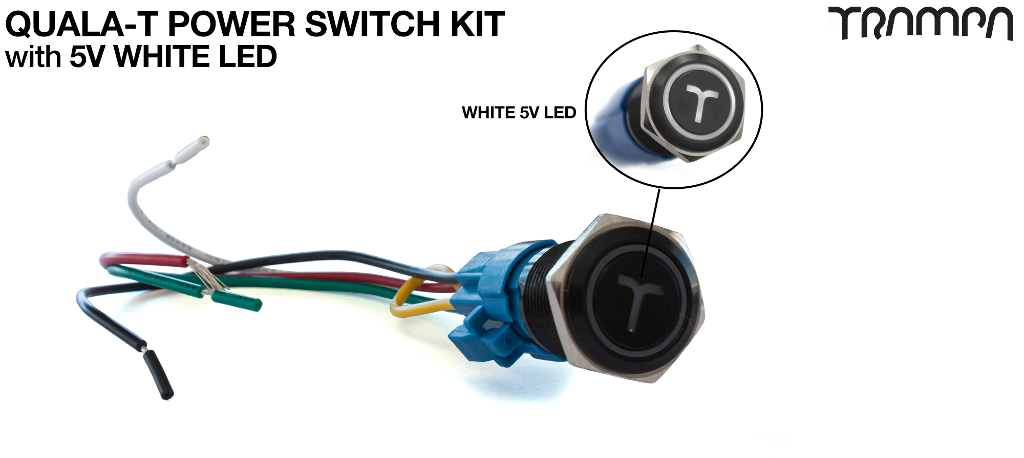 WHITE LED QUALA-T Power Switch Kit with 16mm Fixing Nut & Cable Harness