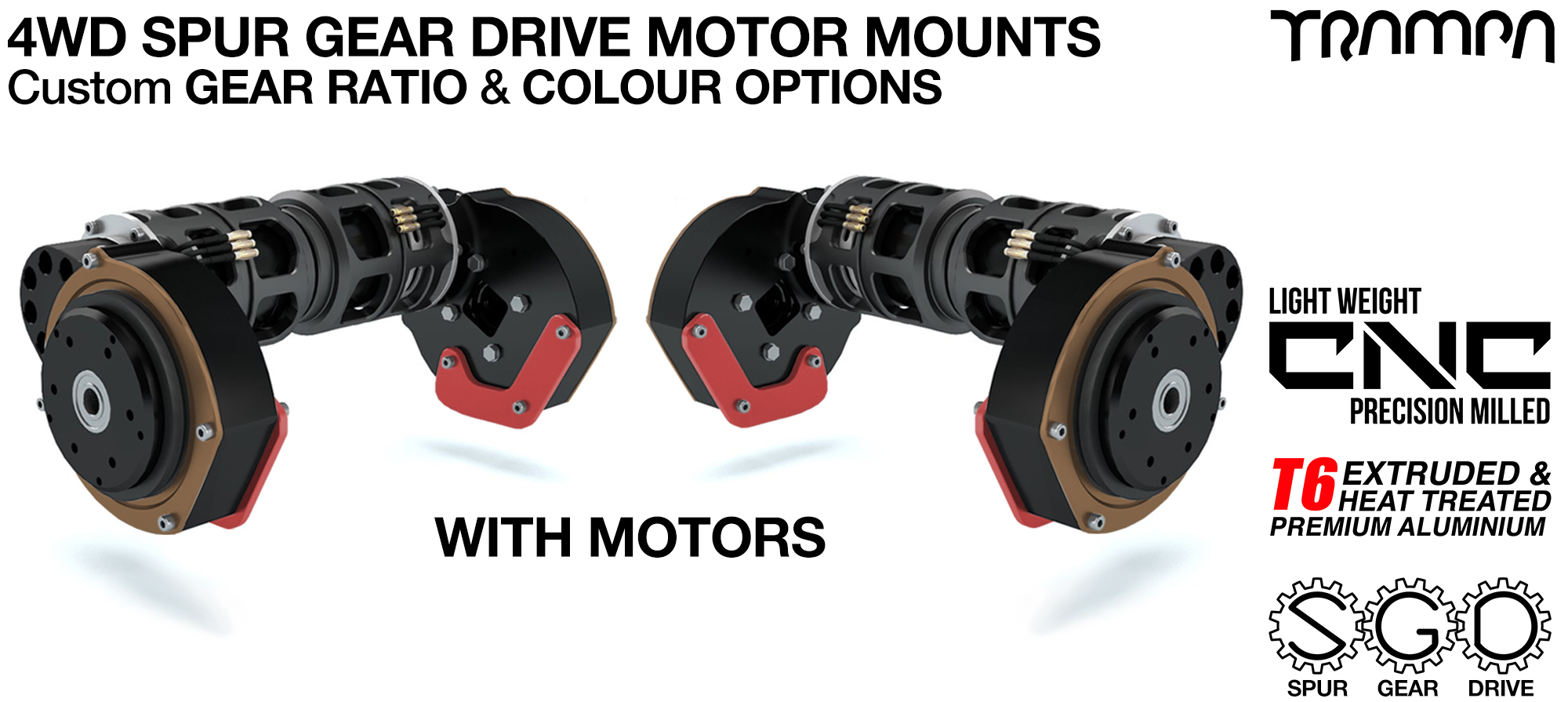 Mountainboard Spur Gear Drive QUAD Motor Mounts with CUSTOM Motors- 4WD