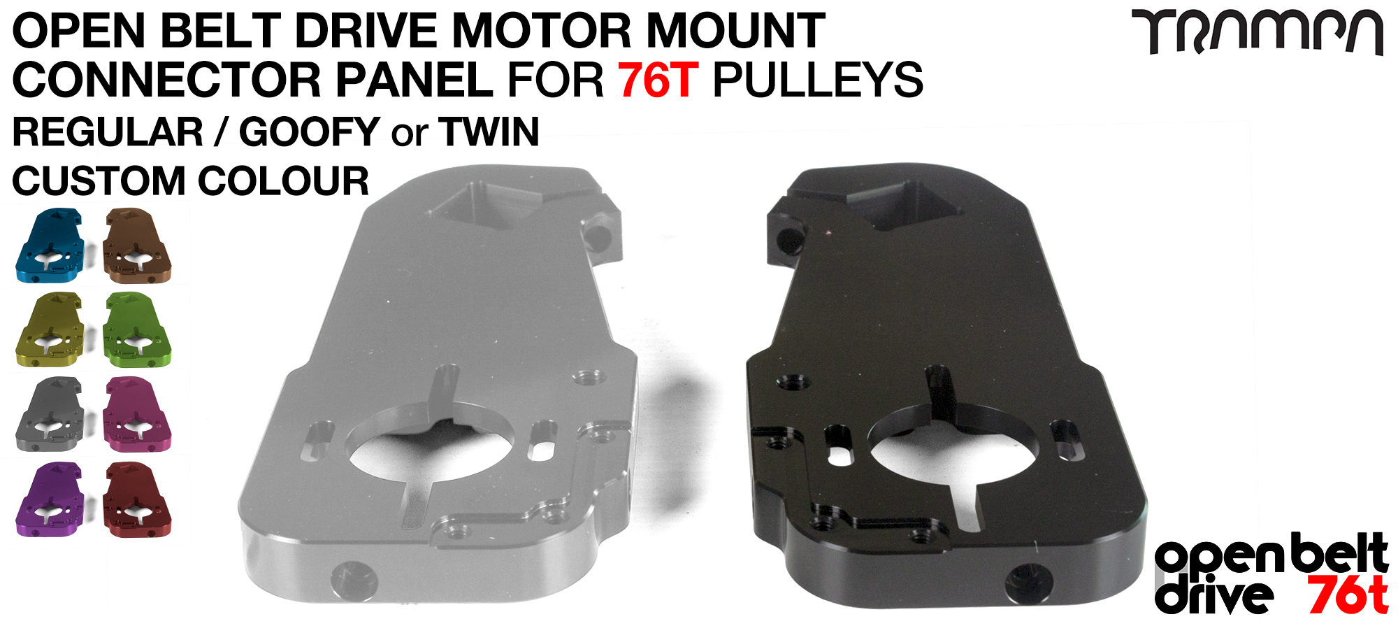 OBD Motor Mount Connector Panel for 76 tooth Pulleys - REGULAR or GOOFY