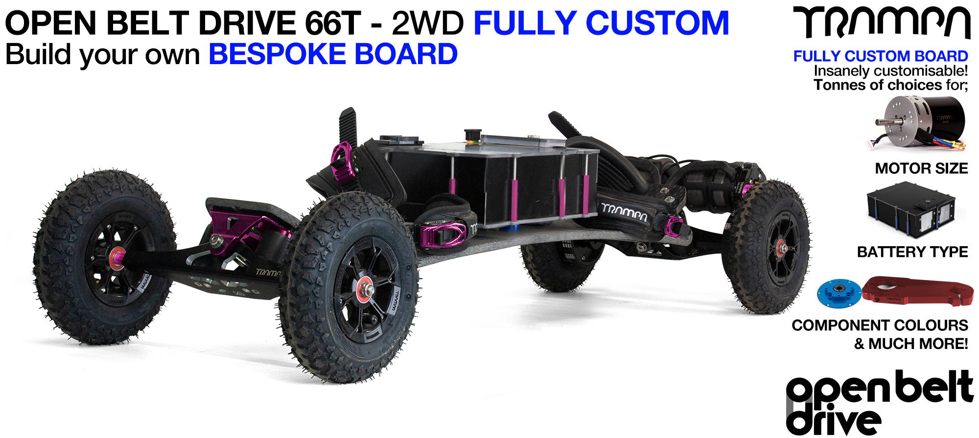 OPEN BELT DRIVE Electric Mountainboard with MONSTER Box with 8 or 9 inch Wheels & Twin Motor CUSTOM build