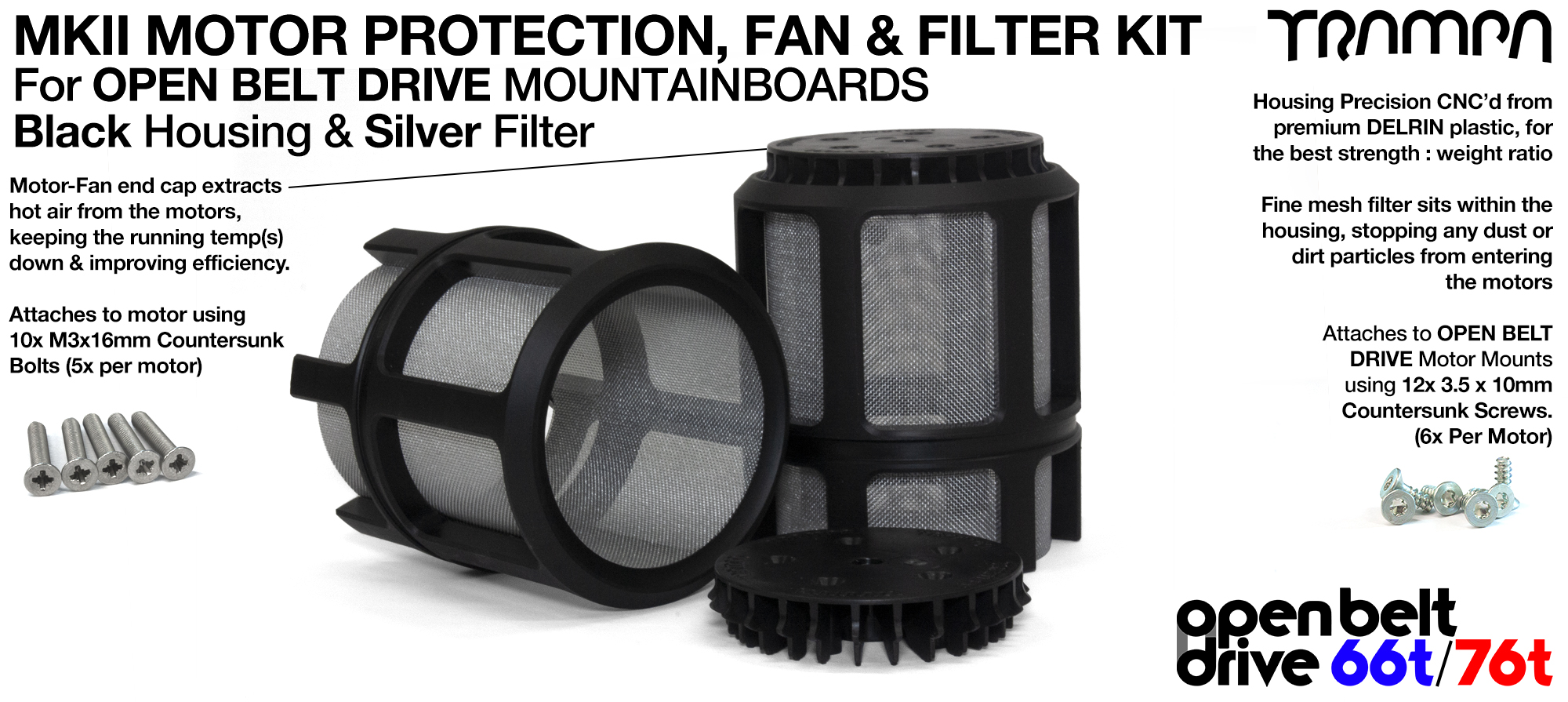 SILVER Mesh filter in Motor Protection Cage with Fan