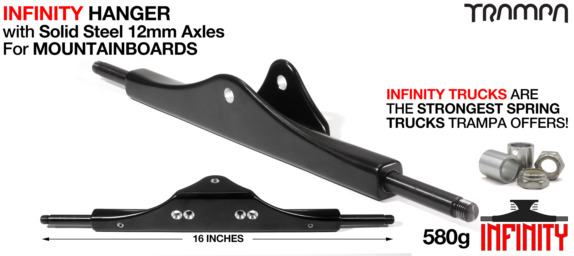 INFINITY ATB Hanger - 12mm SOLID Axles Painted Black & CNC'd Kingpin hole