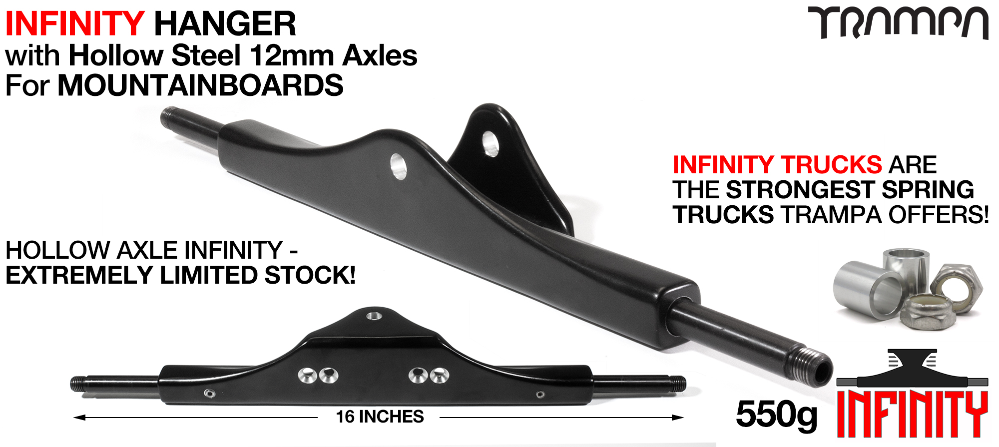 INFINITY ATB Hanger - 12mm HOLLOW Axles Painted Black & CNC'd Kingpin hole