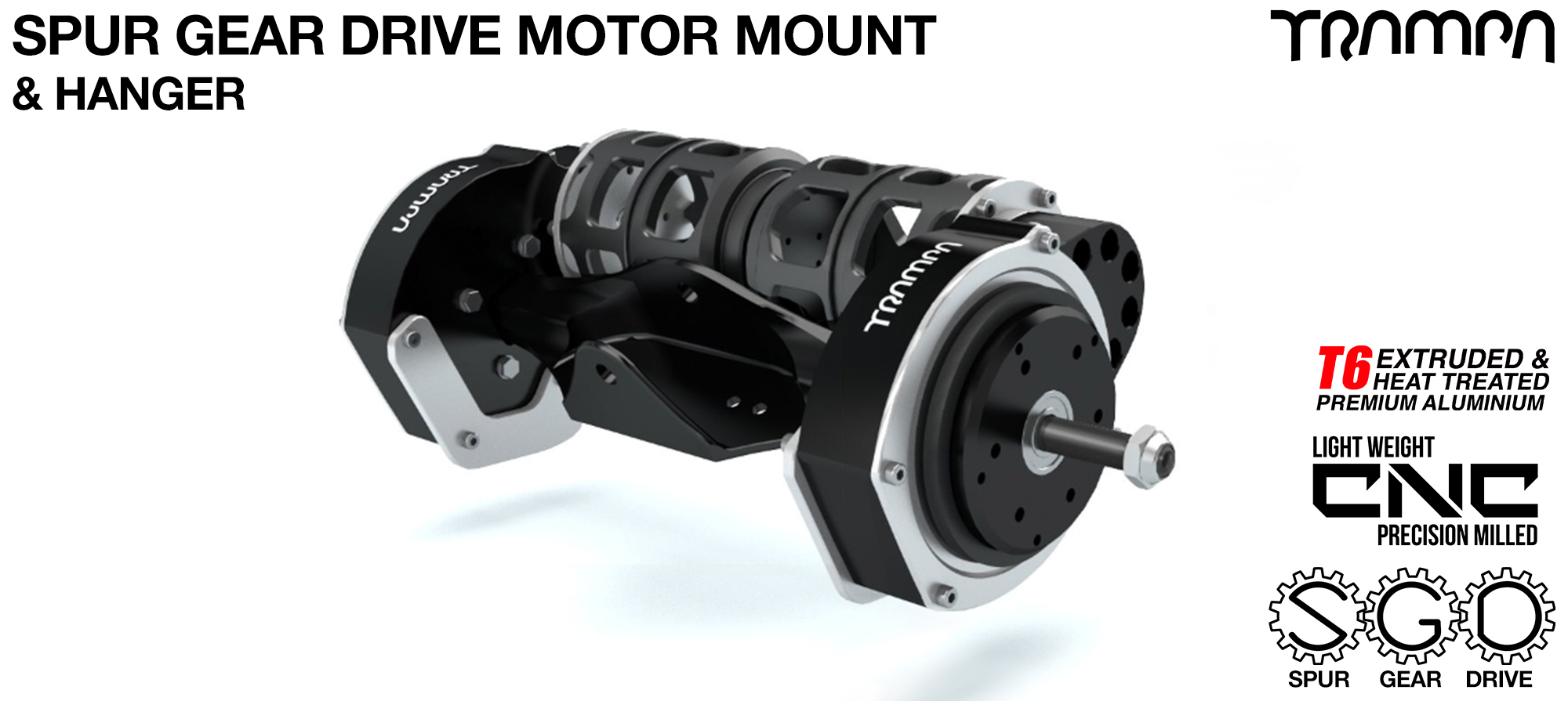Mountainboard Spur Gear Drive TWIN Motor Mount & Hanger