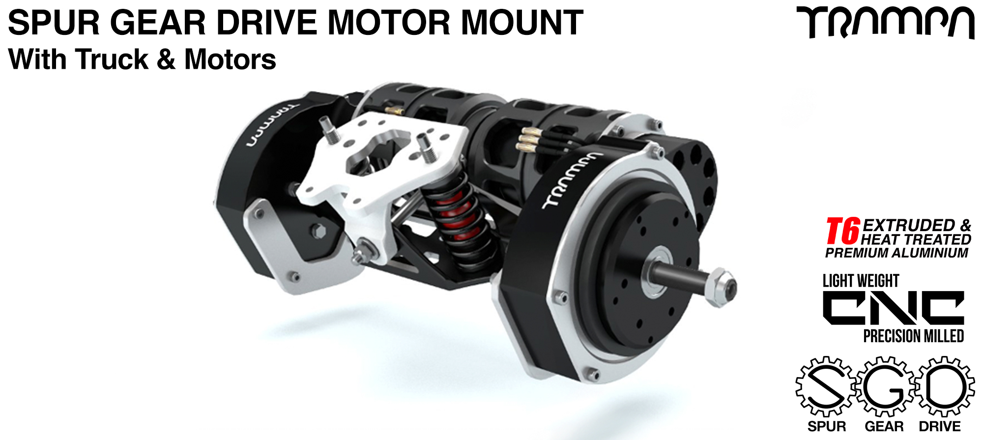 Mountainboard Spur Gear Drive TWIN Motor Mounts with Motors & Truck