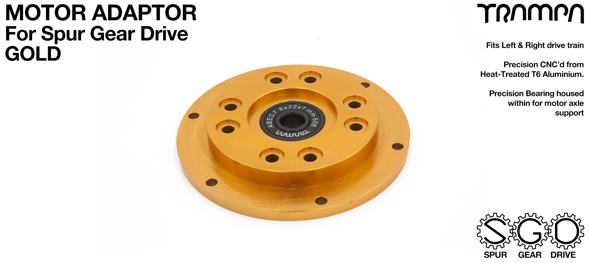 MkII Spur Gear Drive Motor Adaptor GOLD