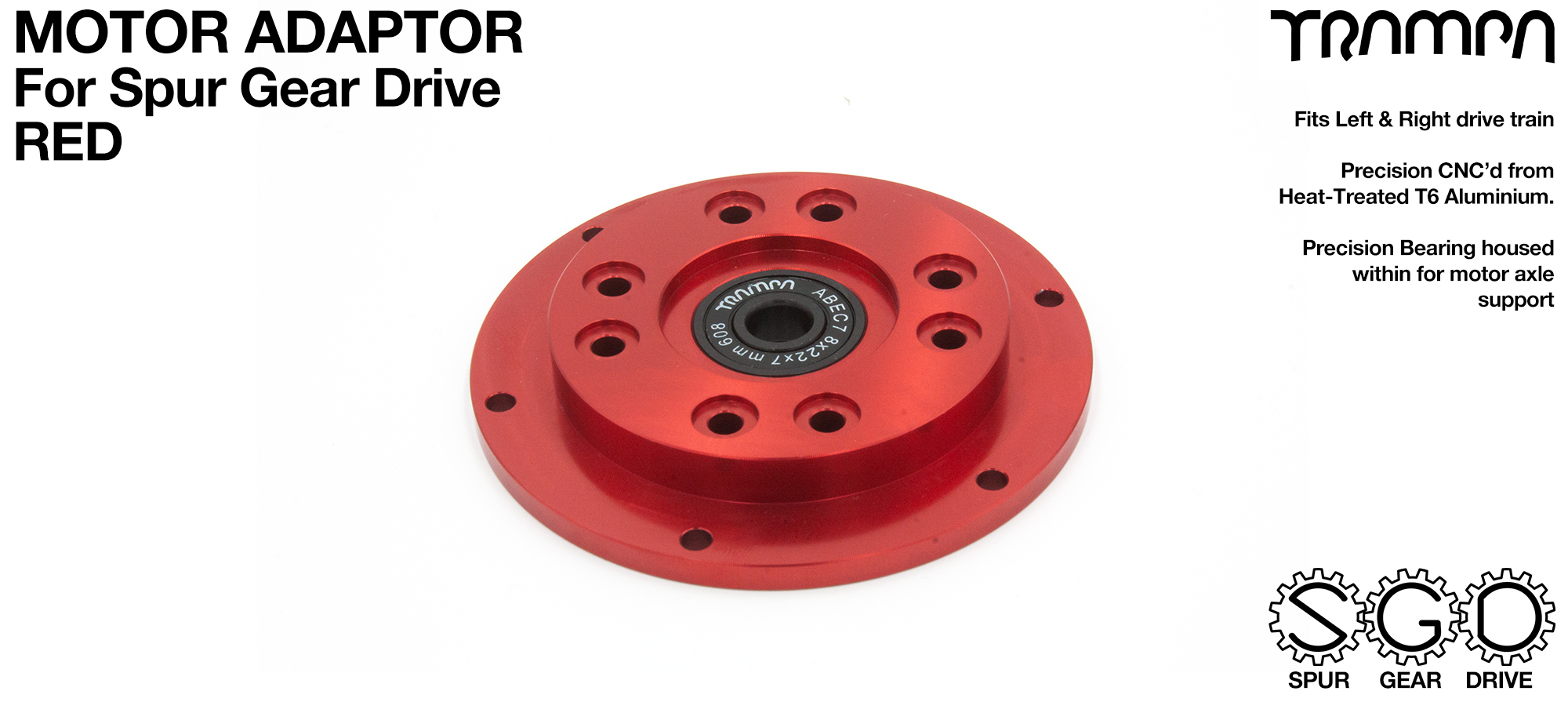 MkII Spur Gear Drive Motor Adaptor RED