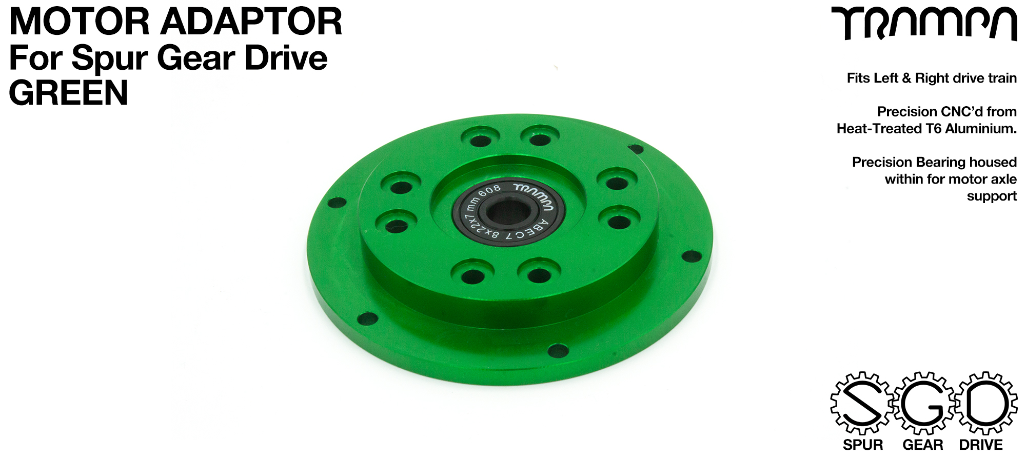 SPUR Gear Drive Motor Adaptor GREEN