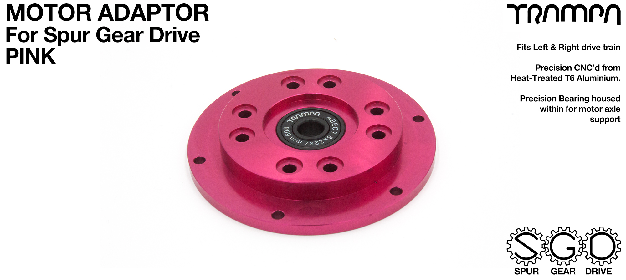 MkII Spur Gear Drive Motor Adaptor PINK