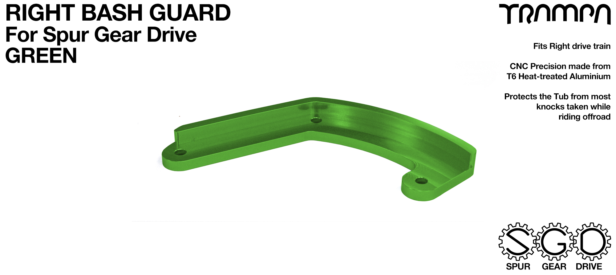 MkII Spur Gear Drive Bash Guard - RIGHT Side - GREEN