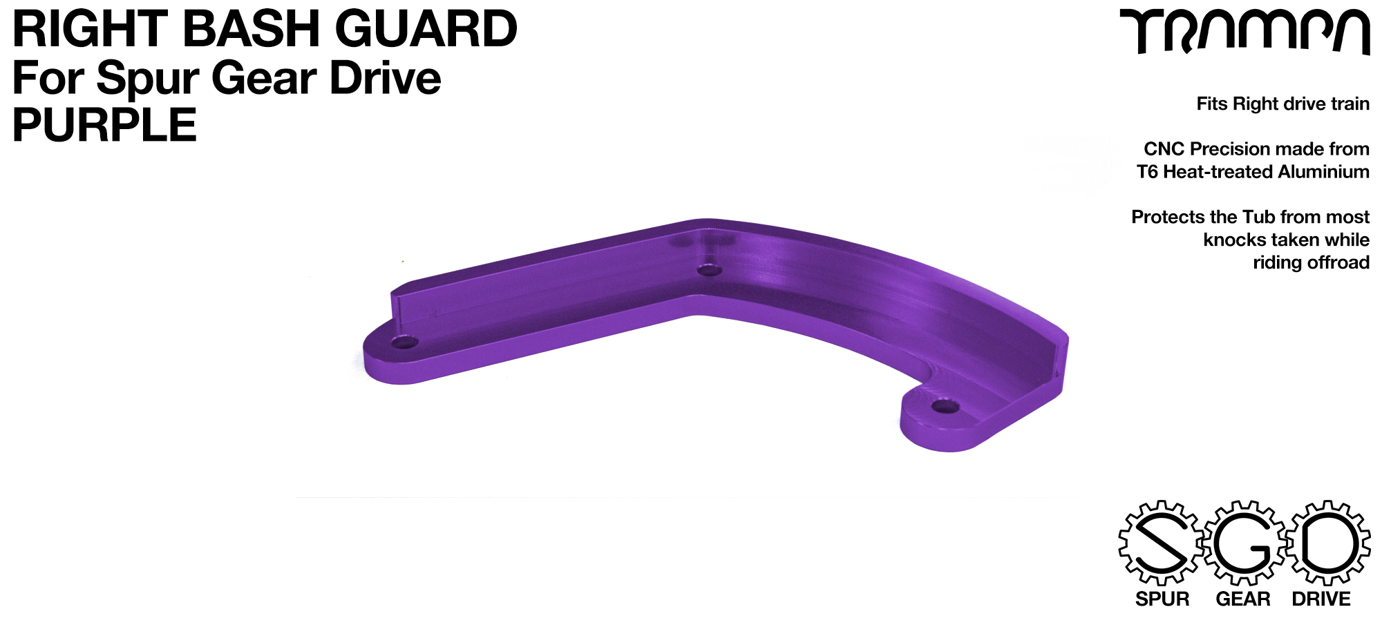 MkII Spur Gear Drive Bash Guard - RIGHT Side - PURPLE