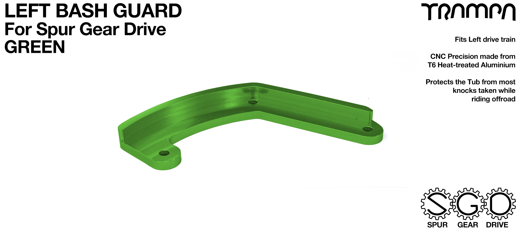 MkII Spur Gear Drive Bash Guard - LEFT Side - GREEN