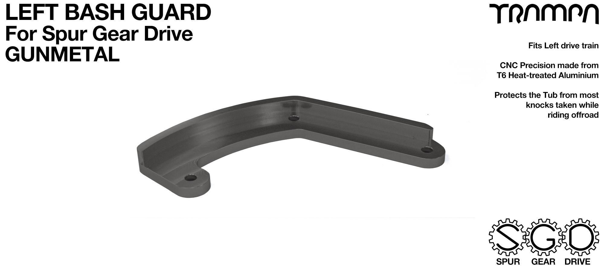 MkII Spur Gear Drive Bash Guard - LEFT Side - GUNMETAL