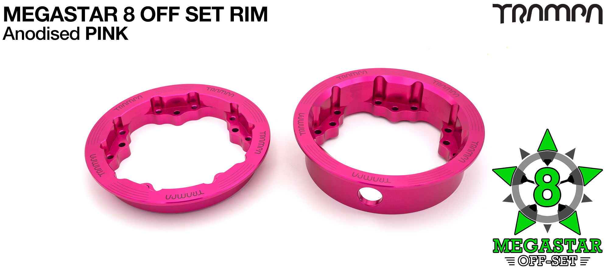 8 Inch MEGASTAR Rim OFF SET - Anodised Pink - Pro OFF-SET Superstars will widen your wheel base by 15mm