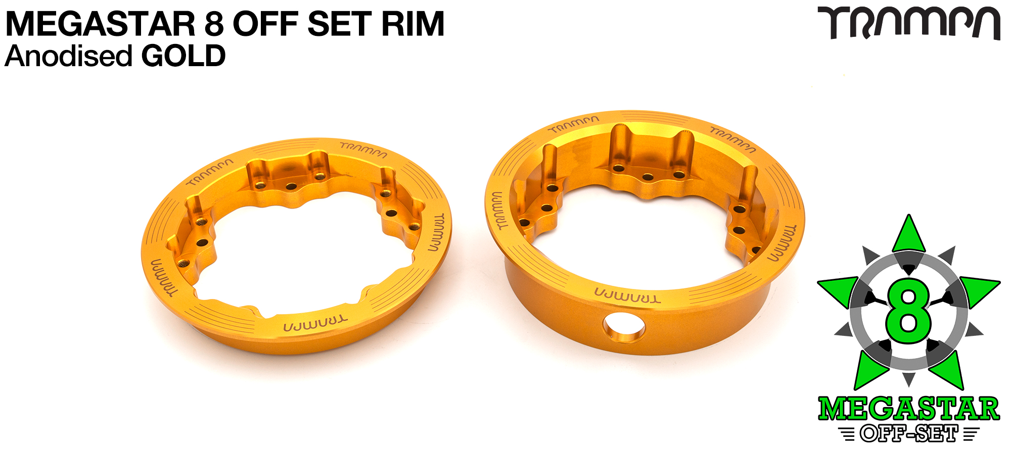 8 inch OFF-SET MEGASTAR Rims on the FRONT - GOLD
