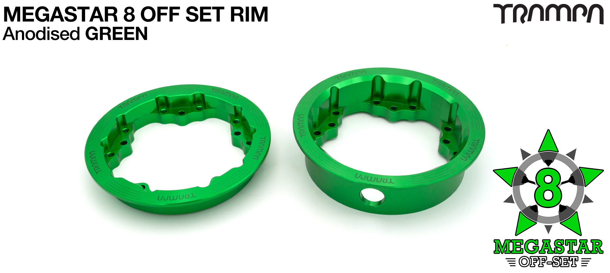 8 inch OFF-SET MEGASTAR Rims on the FRONT - GREEN