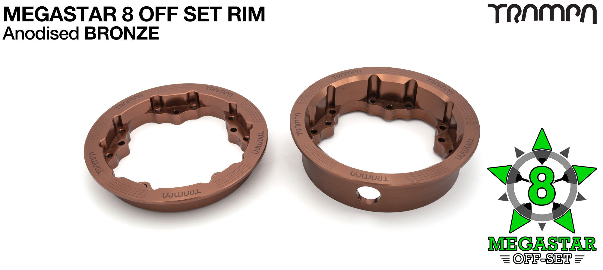8 inch OFF-SET MEGASTAR Rims on the FRONT - BRONZE