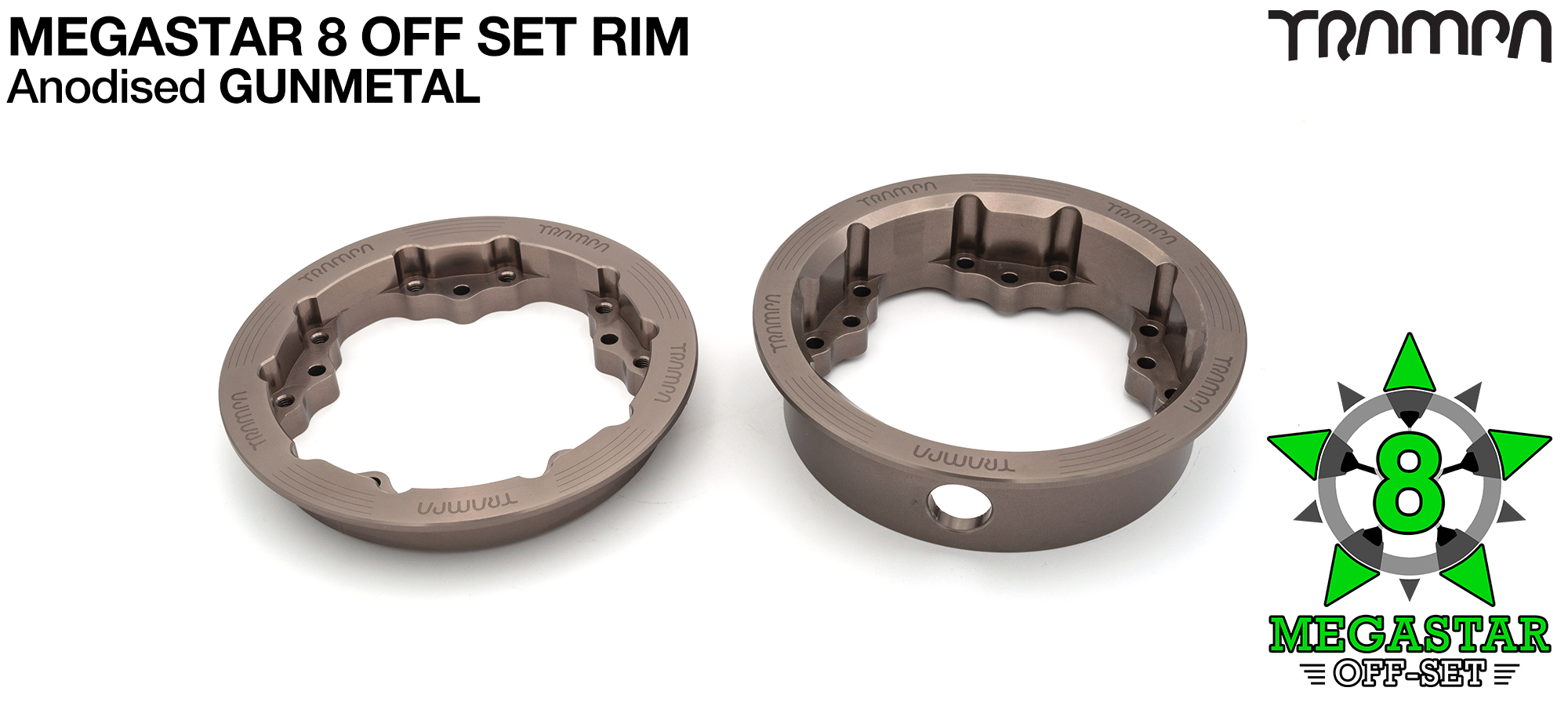 8 Inch MEGASTAR Rim OFF SET - Anodised GUNMETAL - Pro OFF-SET Superstars will widen your wheel base by 15mm