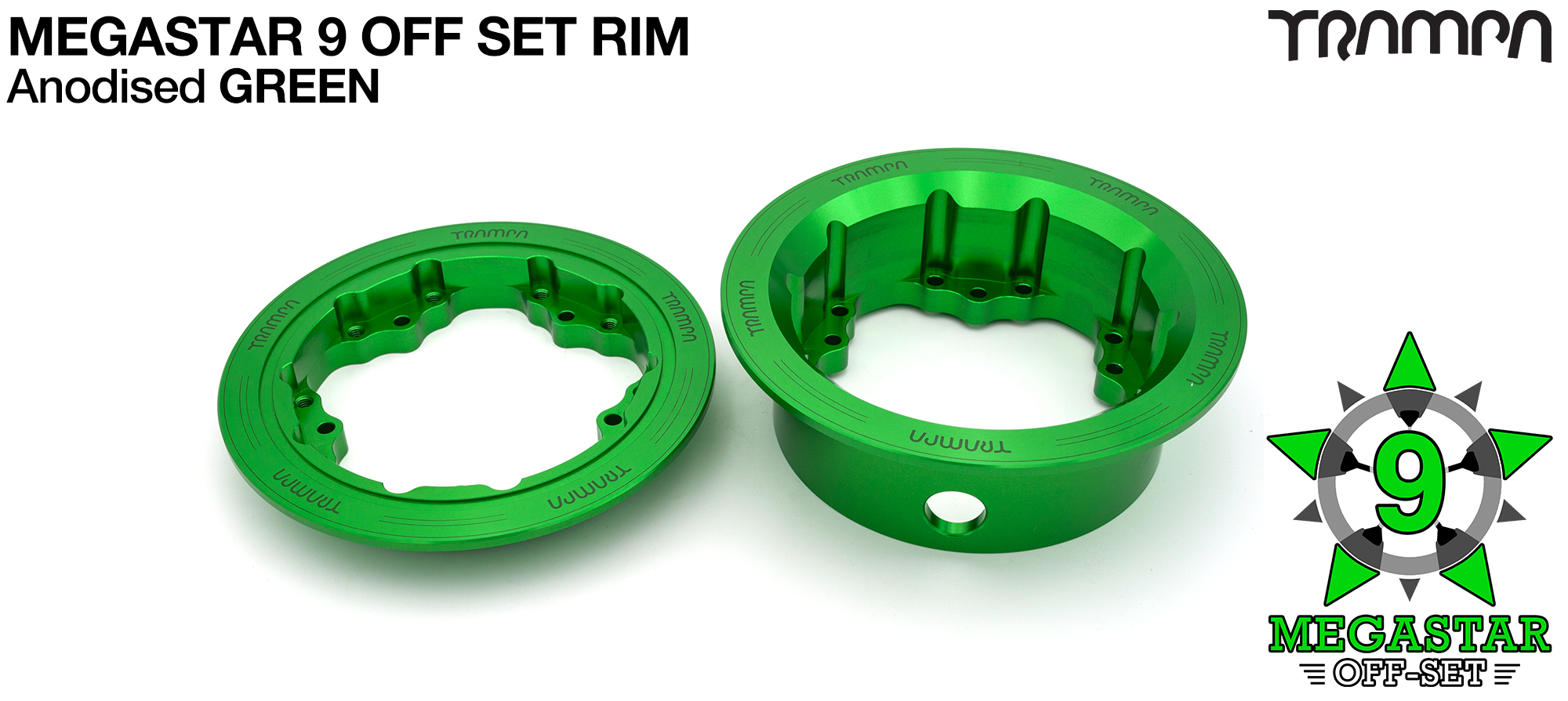 9 Inch DEEP DISH Off-Set MEGASTAR Rims GREEN - Place two on the rear of your Electric Mountainboard for extra Grip & Top Speed!