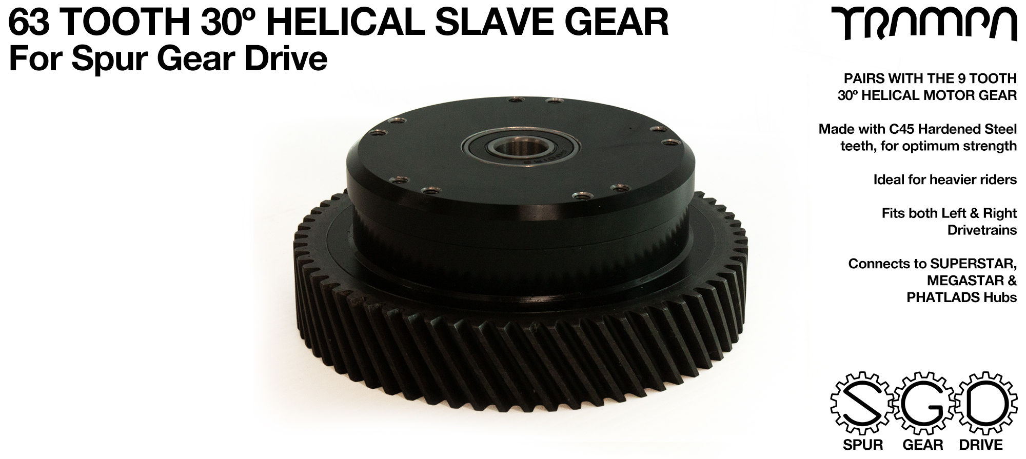 Spur Gear Drive 63 Tooth 30º HELICAL Slave Pulley - c45 Heat Treated Hardened Steel Black Anodised