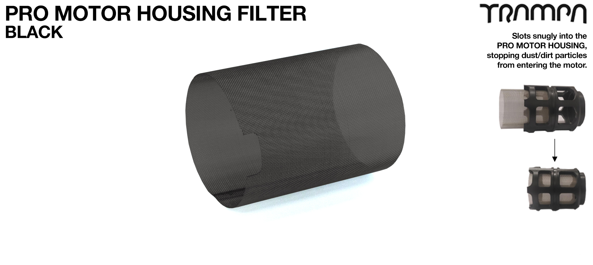 MkII Motor Protection Cover Stainless Steel MESH FILTER - BLACK