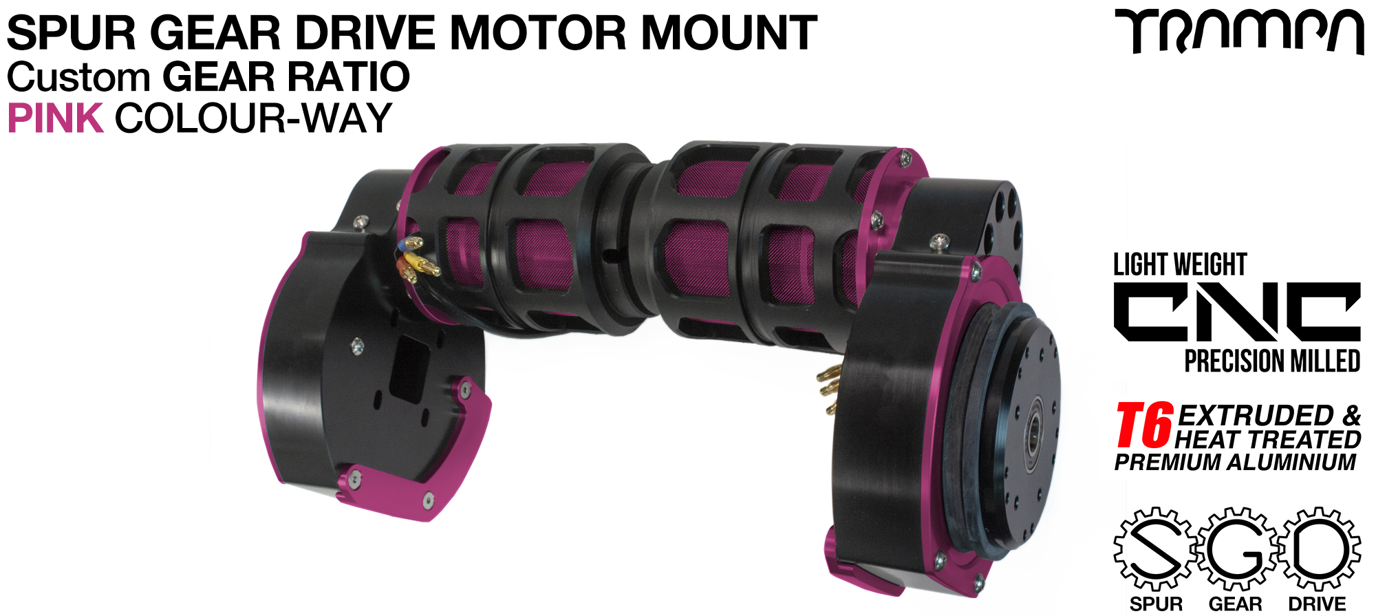 Mountainboard Spur Gear Drive TWIN Motor Mounts - PINK