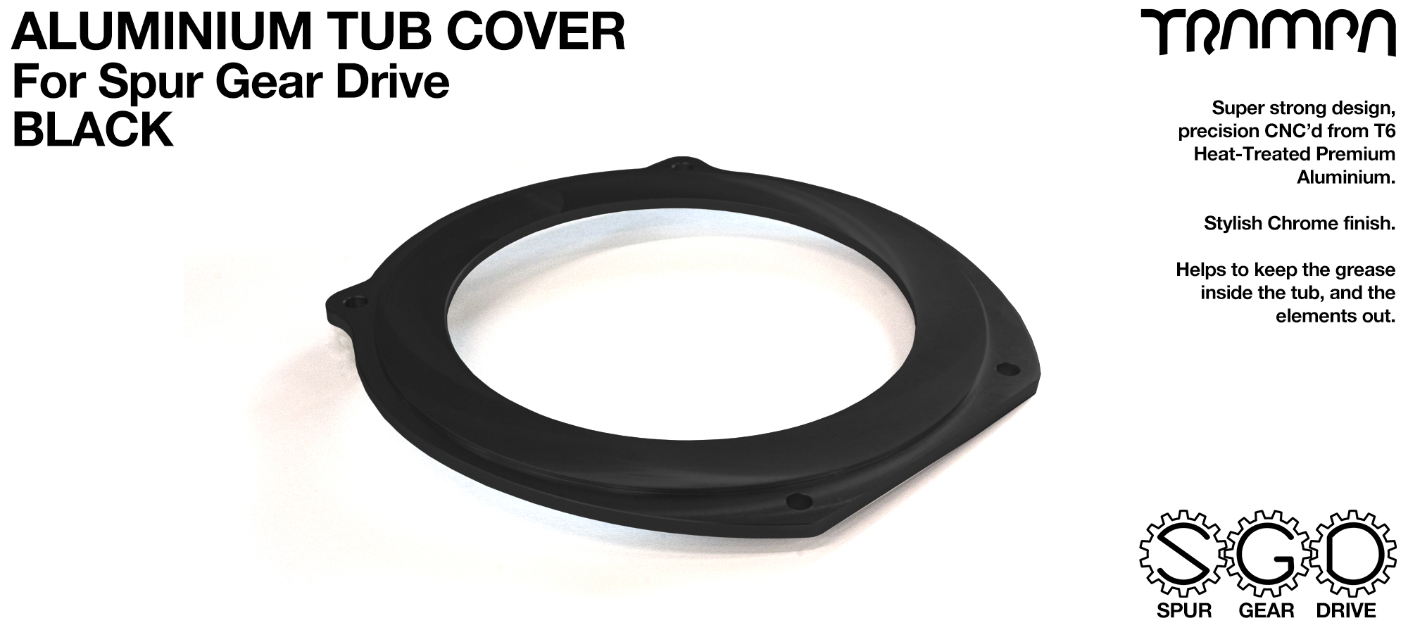 Spur Gear Drive Tub Cover - BLACK