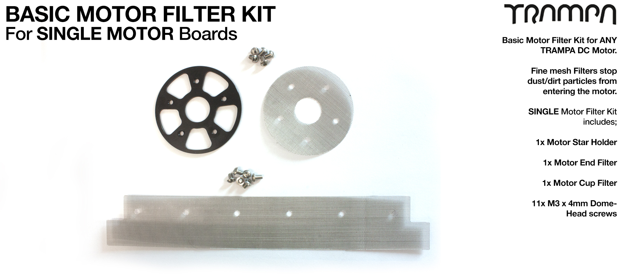 1x Stainless Steel Mesh Filter Kit with Bolts for TRAMPA Motors