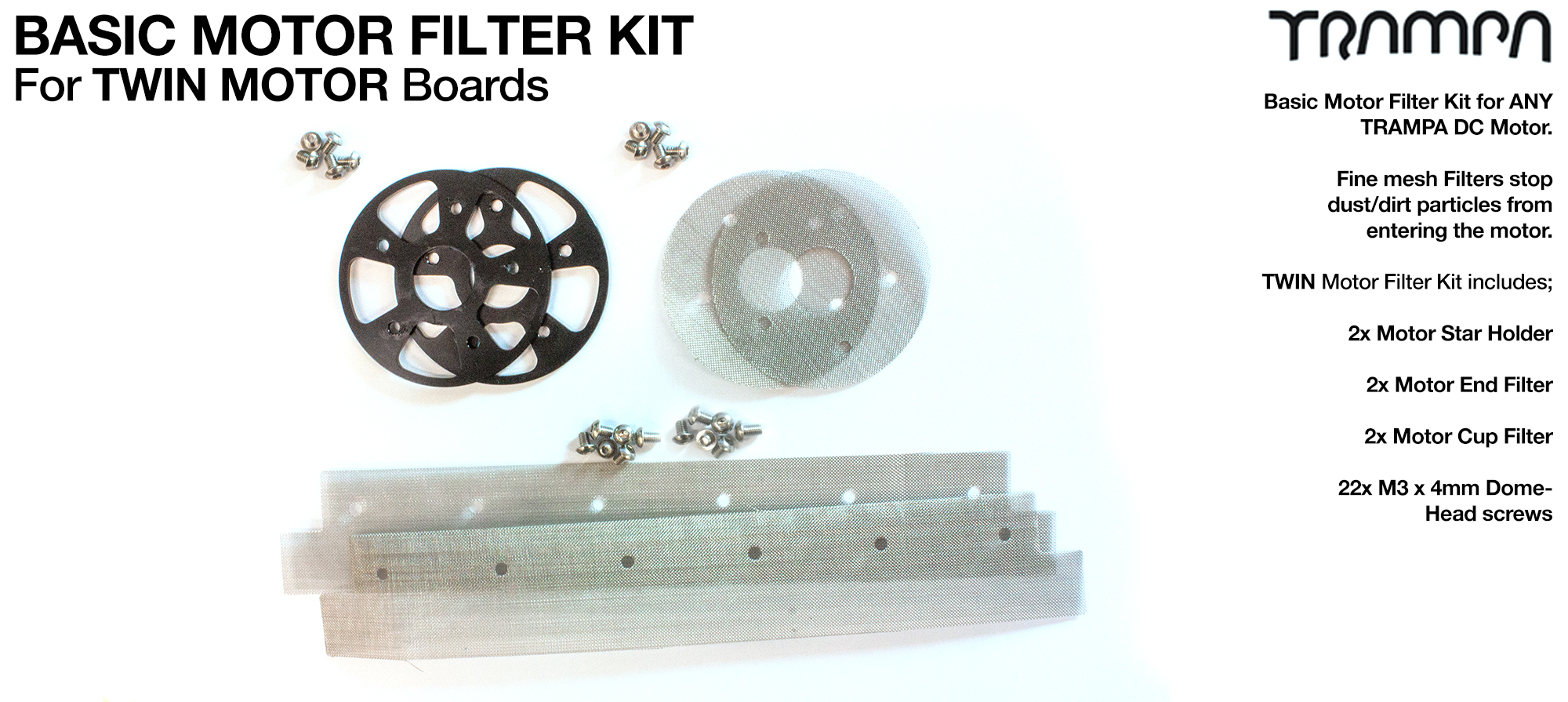 2x Stainless Steel Mesh Filter Kit with Bolts for TRAMPA Motors