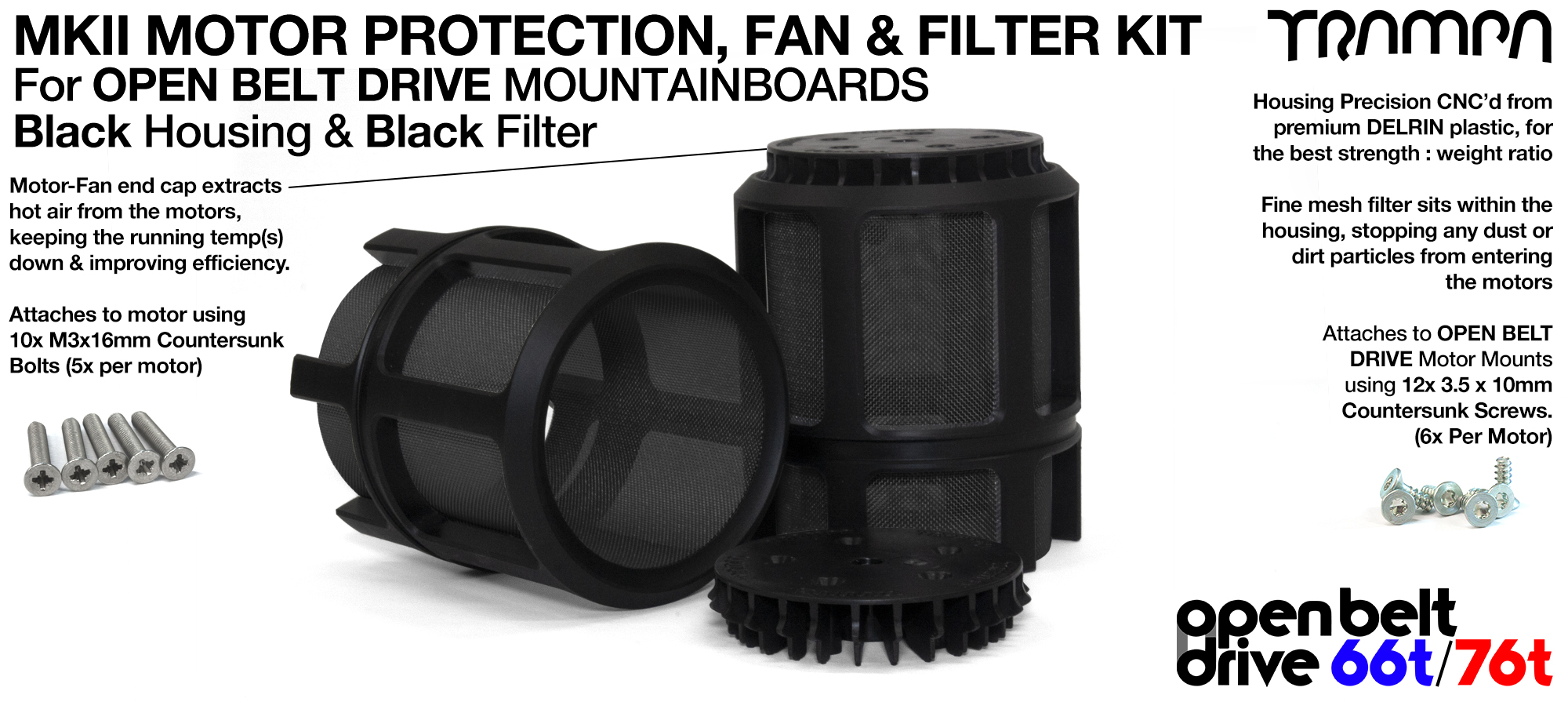 BLACK Mesh filter in Motor Protection Cage with Fan