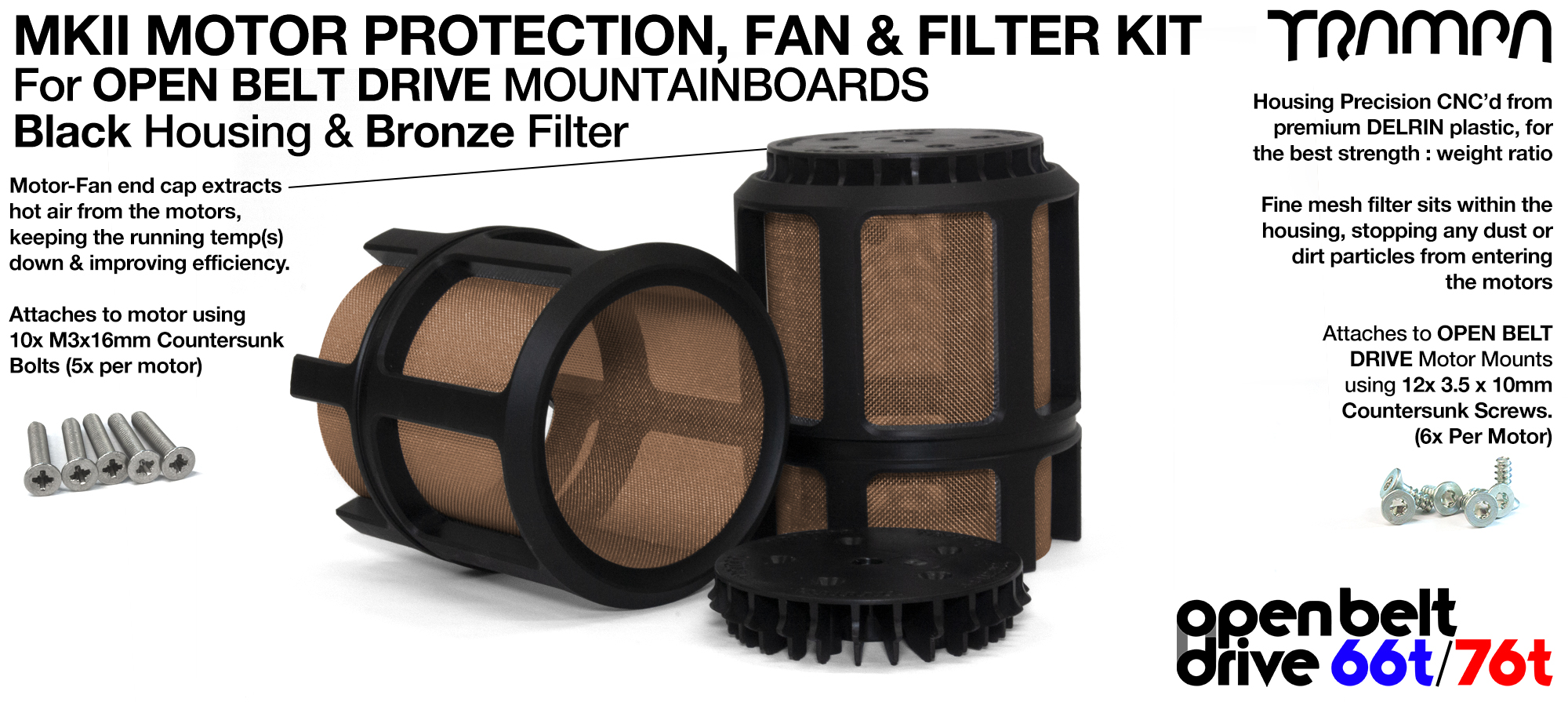 BRONZE Mesh filter in Motor Protection Cage with Fan