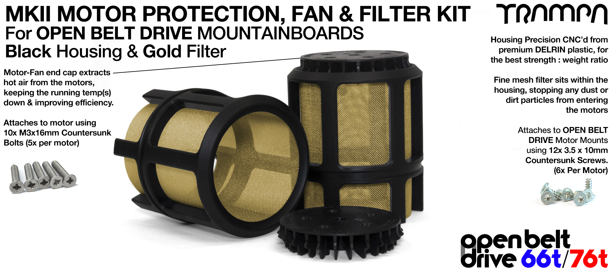 2x OBD MKII Motor protection Sleeve BLACK with GOLD Filter