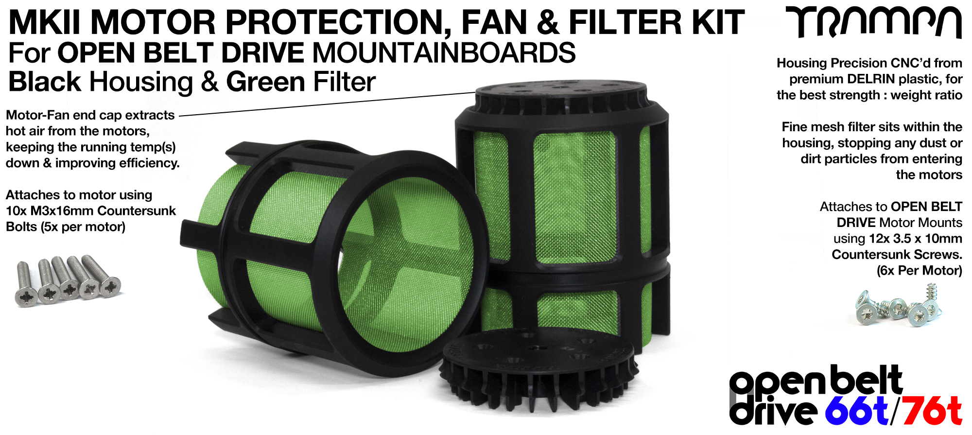 2x OBD MKII Motor protection Sleeve BLACK with GREEN Filter