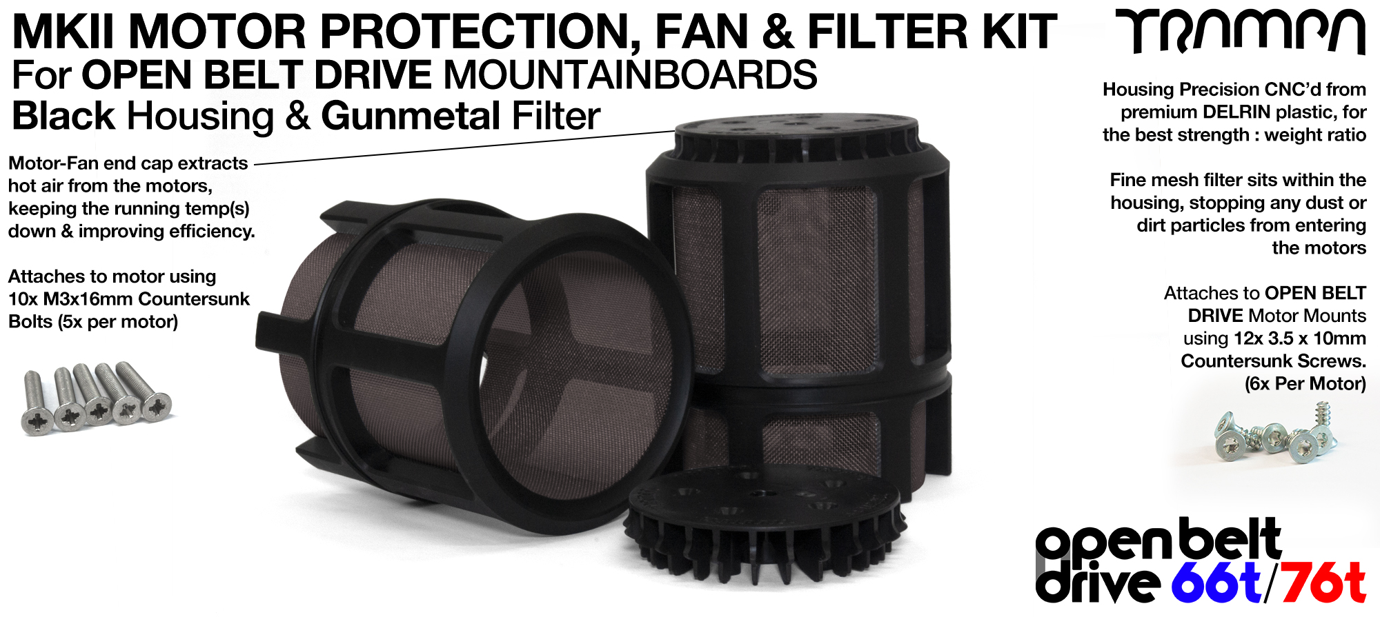 GUNMETAL Mesh filter in Motor Protection Cage with Fan