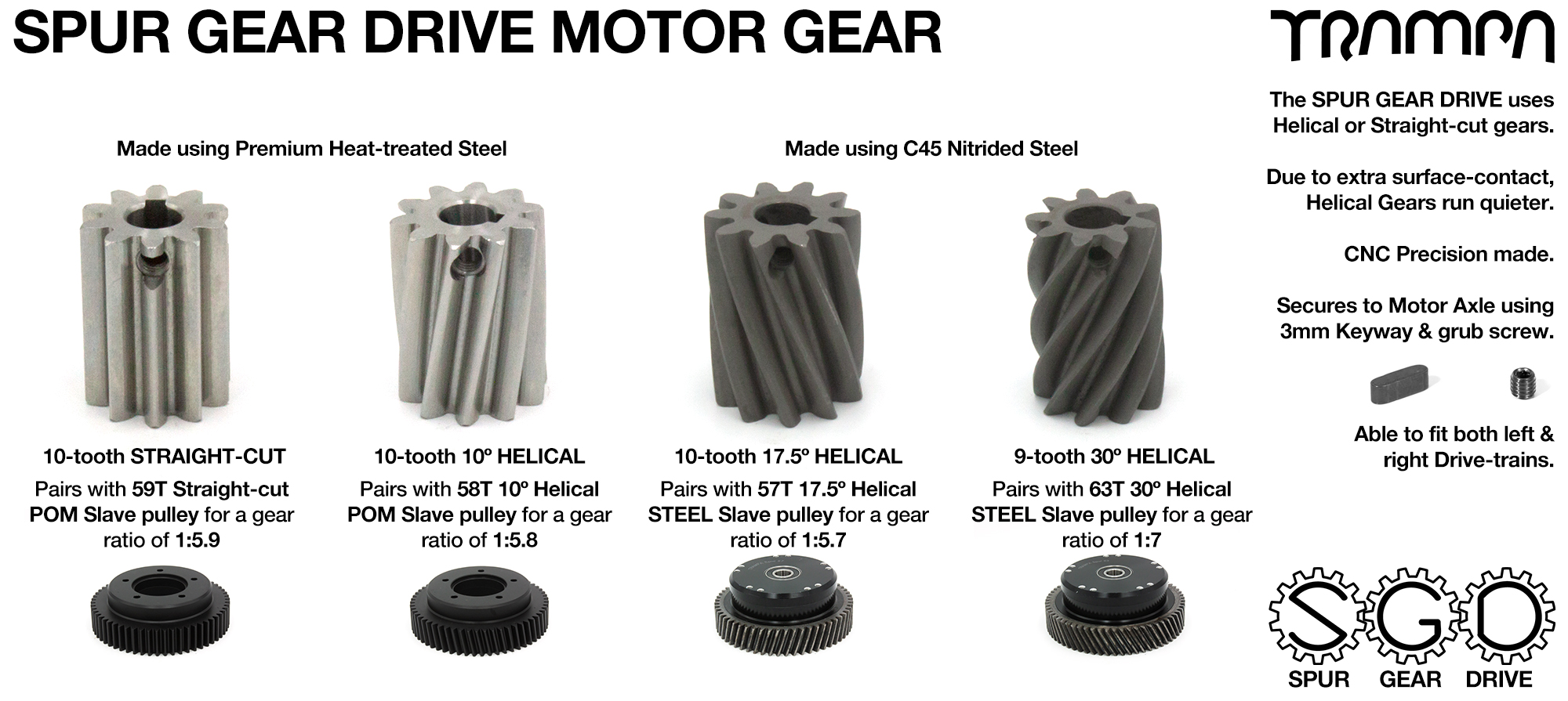 Spur Gear Drive CUSTOM Motor Pulley - c45 HARDENED STEEL