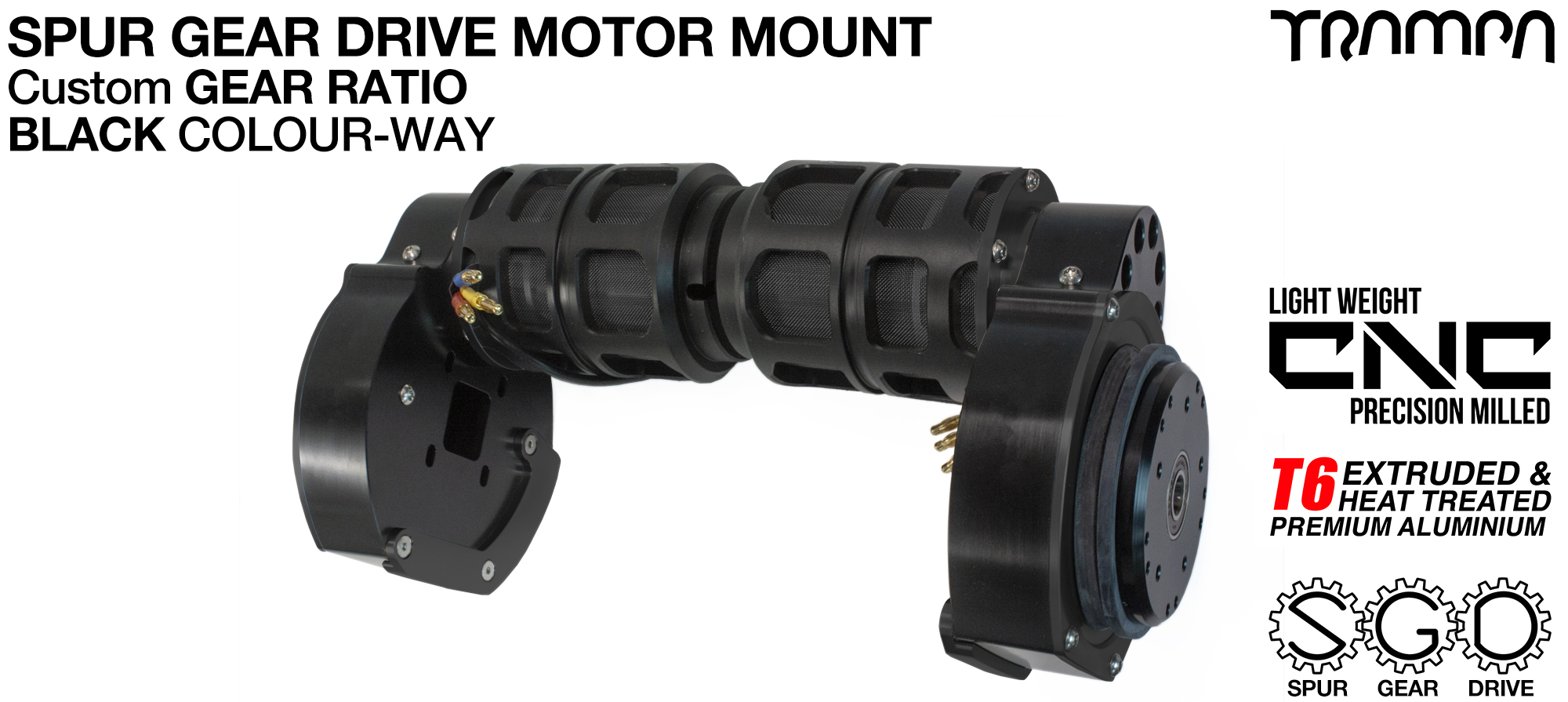 Mountainboard Spur Gear Drive TWIN Motor Mount - BLACK